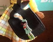Leather Japanese Knot Bag for Sindy, Tammy, Barbie, Tressy, Blythe doll