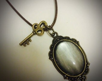 Stormy Grey Choker Necklace Cameo Pendant With Brass Key