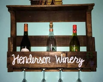 Rustic hand crafted wine rack made from reclaimed wood