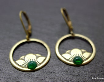 Earrings art deco Peony