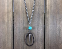Metal Oval and Spike Necklace - Turquoise and Gunmetal Chain and Spike Necklace - Beaded, Chain, Metal Ring Spike Necklace
