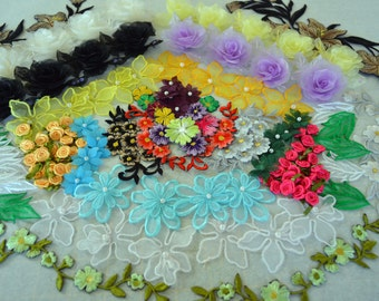 Applique Pack. Ap0010, over 80 peices, organza, ribbon and embroidered flowers