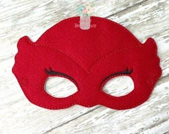 PJ Super Hero Inspired Mask, Owlette Red Owl Childrens Felt Mask, Super Hero Mask, Dress up Costume