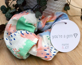 Mint Green and Pale Pink Scrunchy. Modern, Designer, Japanese Fabric