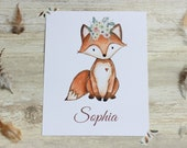Woodland Nursery Decor, Woodland Wall Art Nursery, Personalised Name Print, Fox Nursery Decor, Woodland creatures, Nursery Decor Girl