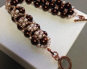 Bead weave bracelet,Brown Pearl bracelet, Bridal's gift, wedding gift,Mother's day gift, Birthday gift,gift for women