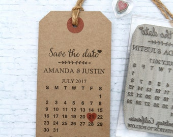 Save the Date Calendar. UK rubber stamp. Wedding invitation.  Custom. Personalised