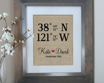 Latitude Longitude Burlap Print   Housewarming Gift   Use GPS Coordinates from Wedding or Home   Personalized Gift by Emma and the Bean