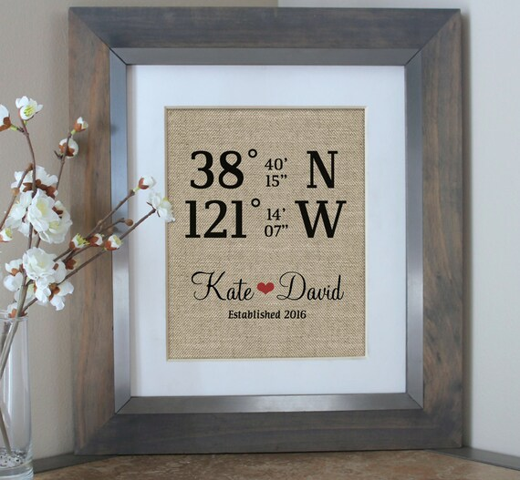 Personalised Wedding Gift Coordinates : ... Gift Use GPS Coordinates from Wedding or Home Personalized Gift by