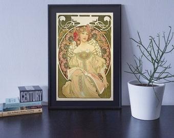 Alphonse Mucha, Art Nouveau, Original Art Print, Poster Wall Art, Vintage Art, High Quality Print