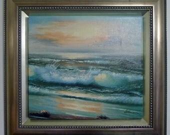 Custom Framed Art, Original Oil Painting of Ocean Waves on the Beach