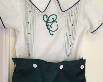Dark Green and white Button On for Boys