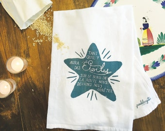 Tea Towel, Hand Printed Flour Sack Towel, Kitchen Towel, Home and Gift,  French Star