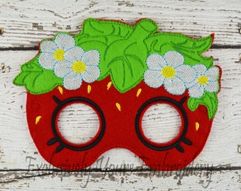 Strawberry Mask Children's Felt Mask  - Costume - Theater - Dress Up - Halloween - Face Mask - Pretend Play - Party Favor