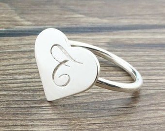 Heart Ring, love ring, silver heart ring, open heart ring,Engraved Heart ring, Monogram silver heart ring, custom heart promise ring