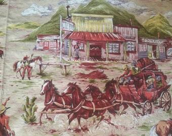 Vat Print Western Barkcloth vintage fabric