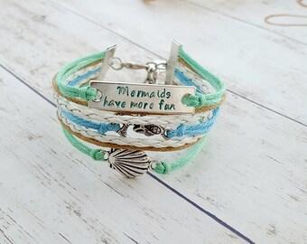 Seashell Bracelet, Mermaid Bracelet, Hand Stamped Jewelry, Quote Bracelet, Nautical Bracelet, Beach Bracelet, Gift for Her, Ocean Jewelry