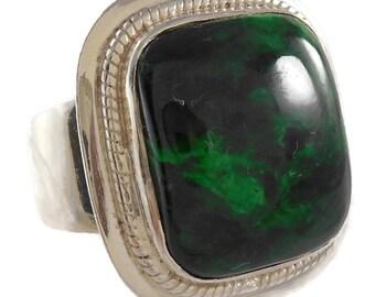 Retro Vintage .925 Sterling Silver Green Jasper Statement Ring Size 8.75
