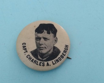 Vintage Capt. Charles A. Lindbergh Pinback Button 1920s Free Shipping