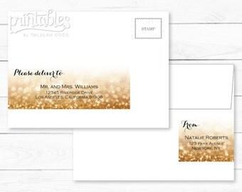 Customized Address Labels - Wrap Around Glitter Address Label - Personalized Address Stickers - Editable Address Label Template - DIY Labels
