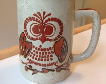 Vintage Otagiri stoneware owl mug 1970s