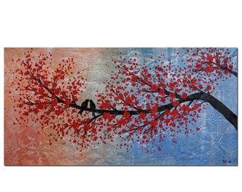 Love Birds Painting, Original Painting, Oil Painting, Canvas Painting, Wall Painting, Abstract Art, Wedding Gift, Art, Abstract Painting
