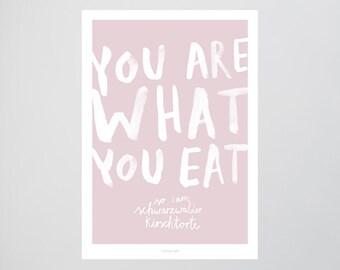 Schwarzwälder Kirschtorte / Cake, Eat, Fine Art-Print, Wall-Art, Minimal Poster Art, Typography Art, Premium Poster, Kunstdruck Poster