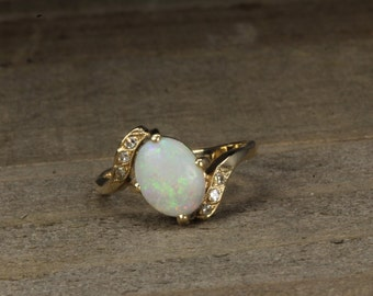 Estate, 14K Yellow Gold Opal and Diamond Ring