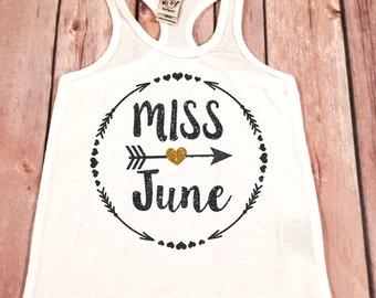 Miss June Shirt,June Birthday Tank,Glitter Birthday Shirt Baby Girl,Birthday Tank Top,Miss June Birthday Girl Tank Top, Birthday Girl  \tank