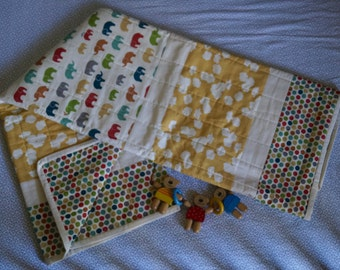 Multi Coloured Elephants with Ochre Poppy and Multi Dot panel quilt