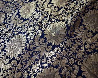 Navy Blue Gold Weaving Brocade Fabric, Banarasi Silk Fabric Indian Silk, Wedding Dress Fabric, Banarasi Silk Fabric by the Yard