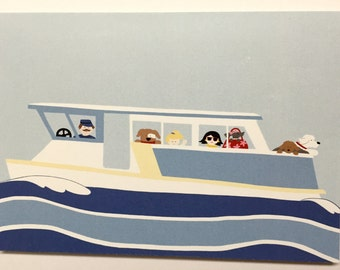 Greeting card, ferry with cute dogs and people