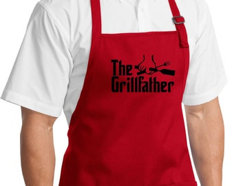 The Grill Father Apron Aprons For Men Men Apron Grilling Apron The Grill Father Apron for Men