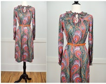 70s Dress, 70s Clothing, Vintage Clothing, Paisley, Small, 60s Clothing, Vintage Dress, Vintage Clothes, Retro Clothing, Green, Spring