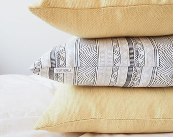 Pillow, Abstract, Tribal, Geometric, Black, White,Decorative Square Pillow Case