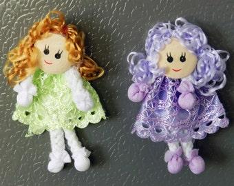 Mini Dolls Handmade Fridge Magnet - Green & Purple - 2 Pack