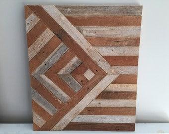 Salvaged Wood Wall Hanging - Chevron Pattern