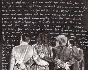 """Watercolor illustration of One Direction with """"History"""" lyrics"""