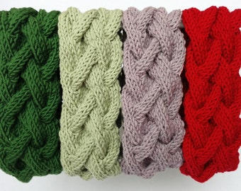 Merino Wool Headband Headwrap, Women Ear Warmer, Braided Warm Headband, Cable Knit Headband, Cosy Accessory Headwrap, Forest Green EarWarmer