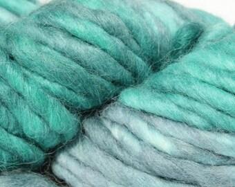SALE Hand dyed yarn, Blue Green gray yarn, super bulky weight, alpaca / wool yarn