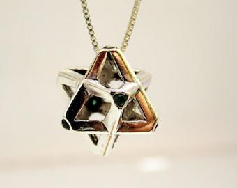 Silver Merkaba, Merkaba Pendant, Silve Necklace  ,Charm Pendant, Green Merkaba Pendant, Jewelry Design, Merkaba pendant, pendant for men