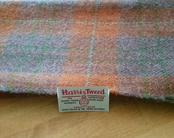 LAST PIECE Luxury Handwoven Harris Tweed Cloth Burnt Orange Check Tartan 100% Pure Virgin Wool from Outer Hebrides Scotland