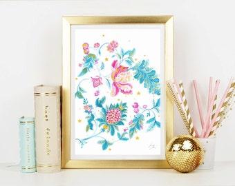 Country Flowers - Home Decor - Hippie Art Print - Art Print - Floral Print - Blue Print - Pink Print