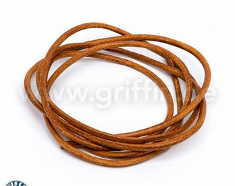 Leather strap, 2 mm, Carnelian, 100 cm, round leather, GR