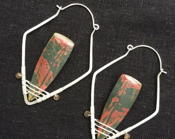 Picasso Jasper and Tourmaline on Sterling Silver Earrings