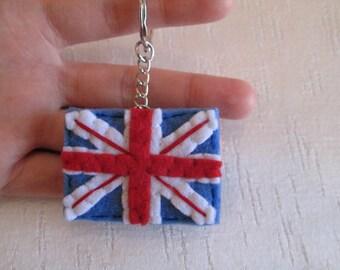 Union Jack keychain - Felt Keychain - London keychain -