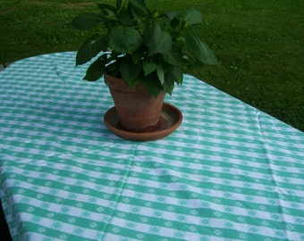 Checked Tablecloth Green and White Checked Tablecloth Picnic Tablecloth Square Vintage