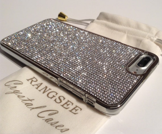 iPhone 8 Plus / iPhone 7 Plus Case Clear Diamond Rhinestone Crystals on Silver Chrome Case. Velvet Pouch Included,