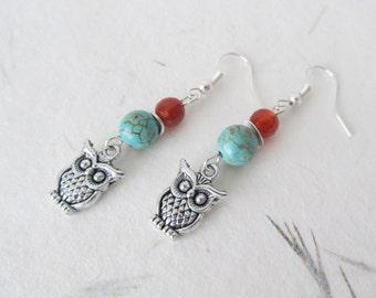 Owl earrings, gemstone earrings, carnelian earrings