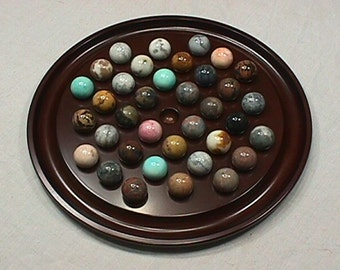 Vintage 1994 Large Solid Gemstone Marbles Solitaire Set on a Solid Wood Base in Great Original Condition